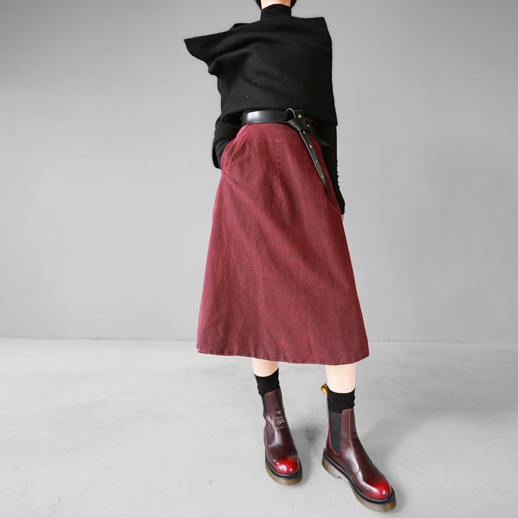 Мода диких колено-Длина юбки юбки вино красный Ретро Стиль женщины высокая Талия половина-длина юбка