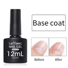 LEMOOC 8ml Top Coat Base Coat Losweken Gel Nagellak UV LED Nail Building Vinger UV Gel Lak transparante Nail Art Lak(China)