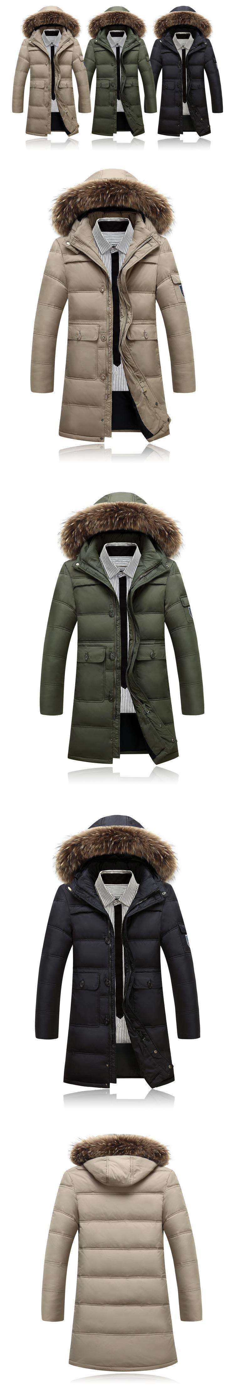 Скидки на Мужская мода вниз Пальто енот Надьямарош воротник пиджаки парки Ветровка Мужчин Высокое Качество тактический Ветрозащитный теплый Плюс размер