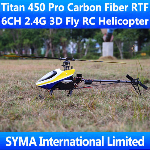 Titan 450 Pro Carbon Fiber RTF 6CH 2.4Ghz Remote Control 3D Fly Align T-rex Trex Single Screw Propeller Electric RC Helicopter(China (Mainland))