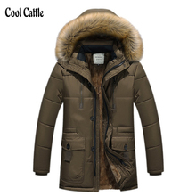 New Brand Clothing Winter Men Jacket Fashion Mens Winter Parka With Fur Hood Casual Warm Men's Coats Thick Long Parkas Homme 5XL(China (Mainland))