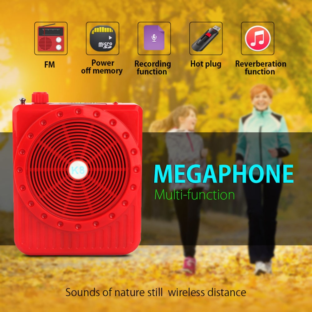 New 5W Loudspeaker Digital Megaphone Voice Amplifier Booster Portable Speaker Microphone Audio External WIth FM Radio USB TF(China (Mainland))
