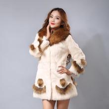 New Fashion Women faux fur collar whole leather rabbit hair coat winter Jacket women Elegant noble Faux fur coat