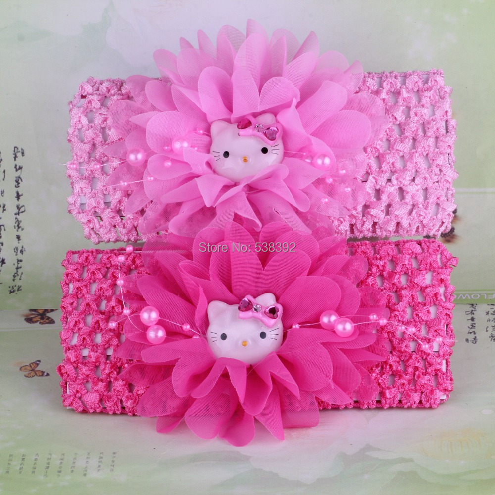 Hello Kitty 1 pcs New 2014 Spring Summer headband Chiffon Flower Kids Accessories Girls Hair Accessories