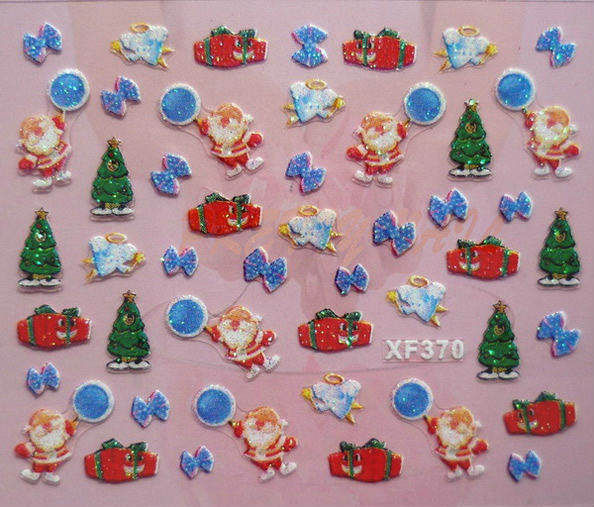 Free Shipping 24 kinds Christmas Designs 3D Nail Art Christmas Nail Sticker    XF371