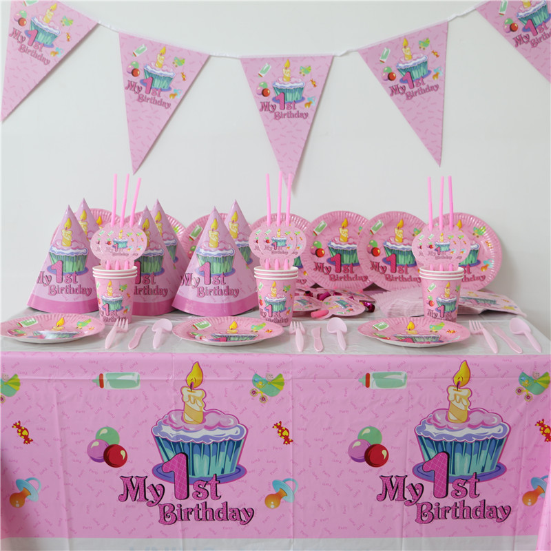 Popular decorate paper plates buy cheap decorate paper for Baby girl first birthday decoration ideas