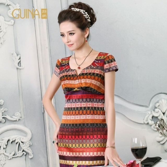 Guina women's silk sericiculture silk summer 2013 revitalizing handmade beading short-sleeve dress short skirt