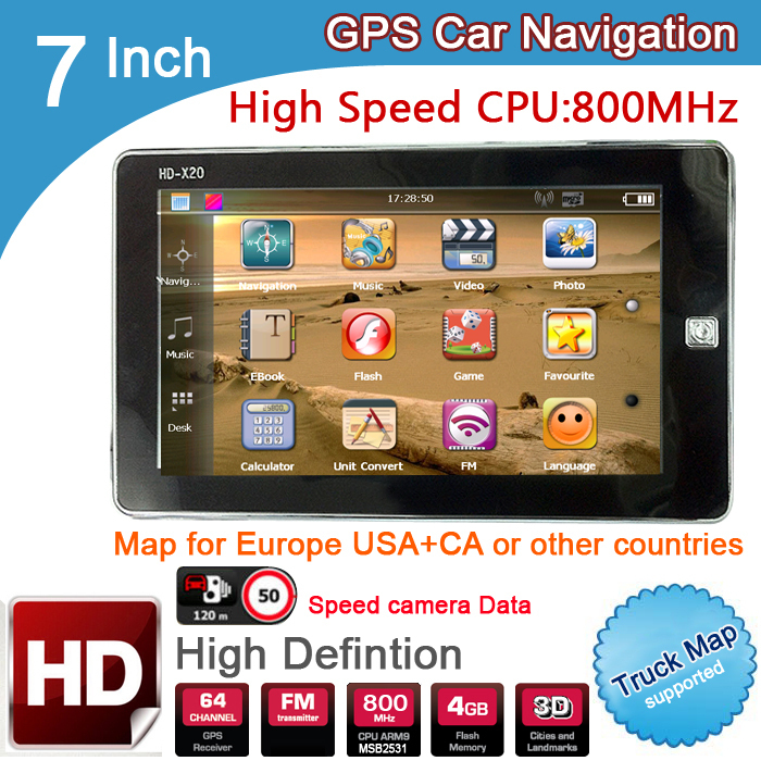 New 7 inch HD Car GPS Navigation 800M/ FM/8GB/DDR3 2015 Maps For TOMTOM Russia/Belarus/Kazakhstan Europe/USA+Canada TRUCK Navi(China (Mainland))