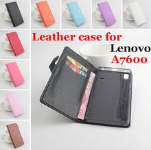 Brand Litchi Grain For Lenovo A7600 Case Cover, High Quality Leather Case Back cover With Wallet For Lenovo A 7600 Case Phone