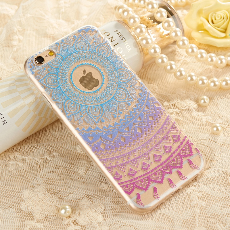 XINCUCO for iPhone 6 s Plus 5.5-inch TPU Bag Garden Girl Lace Pattern TPU Phone Cover for iPhone 6s Plus/6 Plus - Blue/Purple(China (Mainland))