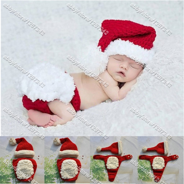 EMS 3-5day 5pcs/lot New crochet knit Baby Santa Hat with Matching Diaper Cover(China (Mainland))