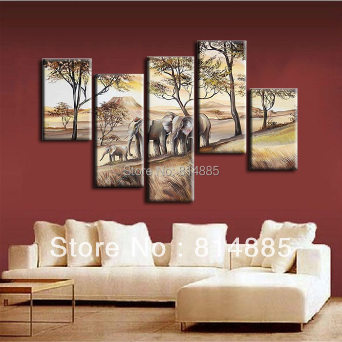 Elephants Oil Painting Art Gift Huge 5PC 100% Hand painted Modern Canvas Oil Painting Wall Art ,Top Home Decoration Z006(China (Mainland))