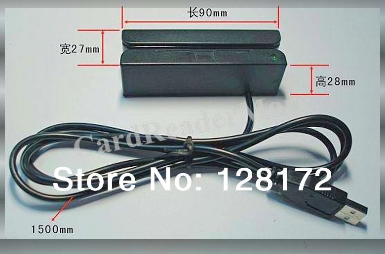 5pcs/lot Small USB 3 Tracks Card Reader MSR90(China (Mainland))