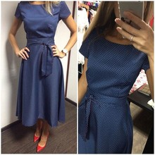 2016 Hot Sale Casual A-Line Dot Women Popular Dress Short Sleeve O-Neck Knee-Length Dress Summer Style Sashes Clothes Plus size(China (Mainland))
