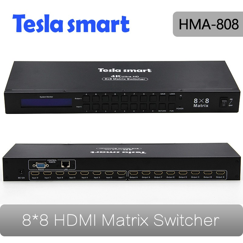 Tesla smart New High Quality 8 in 8 out HDMI Matrix 8x8 with RS232/LAN Support Ultra HD 4K Full HD 1080P 3D<br><br>Aliexpress