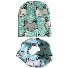 Retail and wholesale New cartoon baby hat cotton scarf infant hats set child caps scarf baby cap Boys Girls Clothing Accessories(China (Mainland))