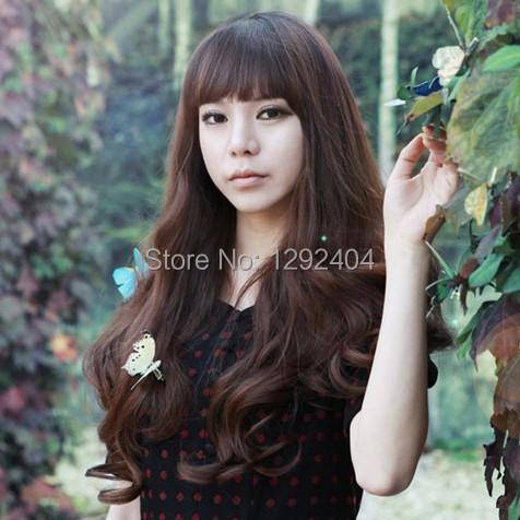 Long curly wig temperament girls hair Fluffy cute scene shooting simulation is a shave hair day(China (Mainland))