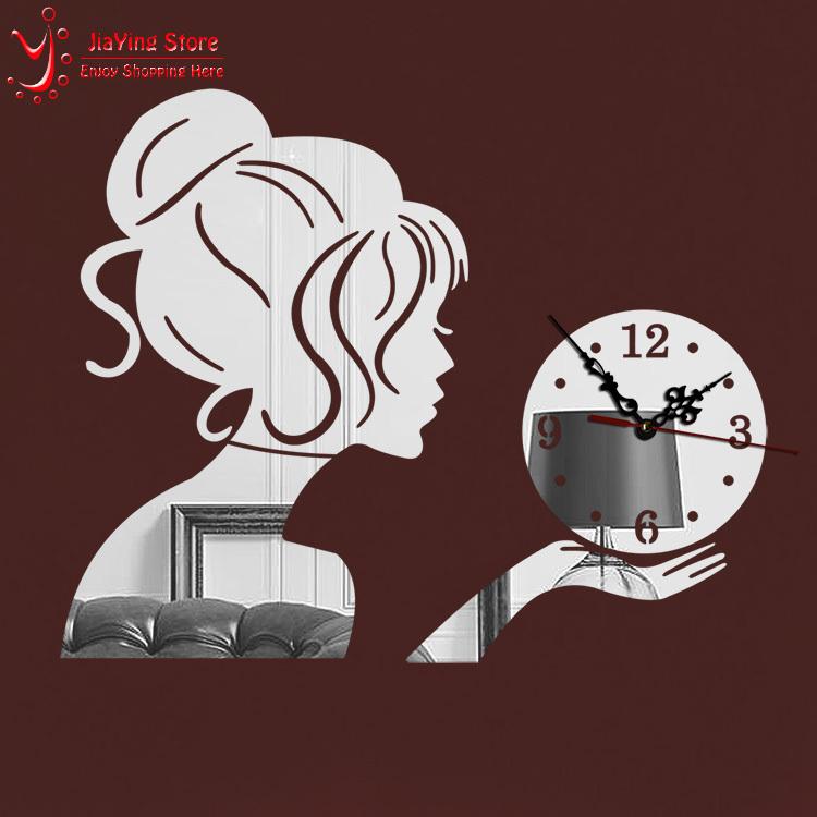 2015 New Beauty Girl 3D Mirror Wall Clock Modern Design Decorative Mirror Wall Clocks Stciker Kids Watch Wall Living Room(China (Mainland))
