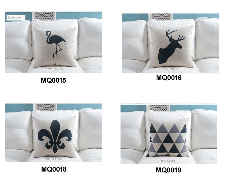 """18 """" praça Nordic Black White Cotton Linen capa de almofada Ikea sofá decorativa Throw Pillow início Car cadeira fronha almofadas"""