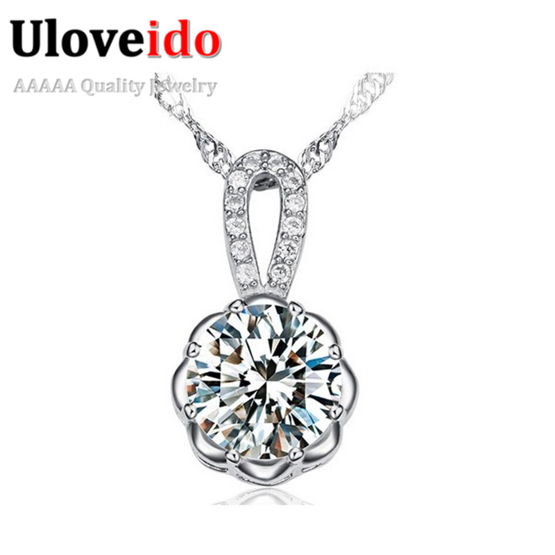 Flower Necklaces & Pendants Fashion Necklaces for Women 2015 Crystal Necklace Chain Jewelry Stone Jewellery Gift Ulove JS600