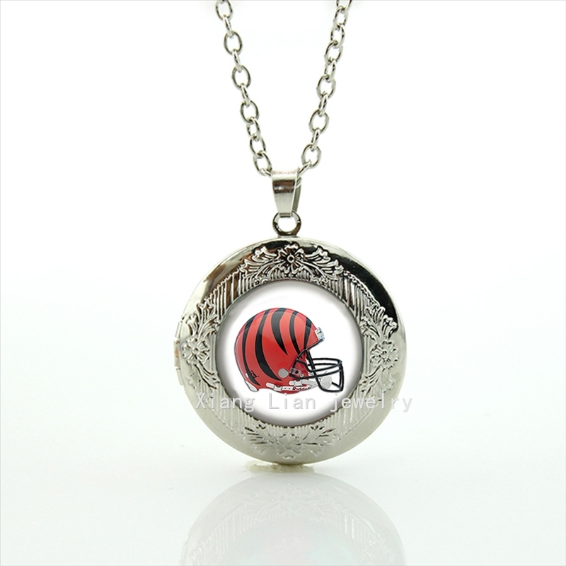 Multi-colored black and red helmet picture locket necklace Cincinnati Bengals team Football team NFL present for mother NF103(China (Mainland))