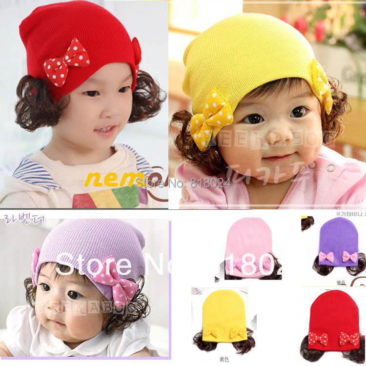 Double Hair Bows Baby Girls Hat  Korean Designs Kids Spring Autumn Wigs Hats Cotton Beanies Hats&amp; Caps Kids Skullies and Beanies<br><br>Aliexpress