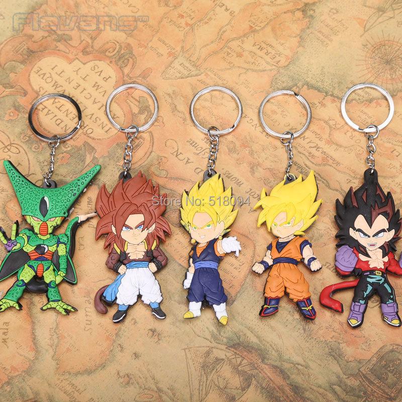 Anime Cartoon Dragon Ball Z Son Goku Vegeta PVC Figure Keychains Pendants Toys 5pcs/set ANPD1896(China (Mainland))