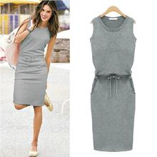 Buy New Fashion 2016 Cotton Slim Dresses Summer Autumn Women Dress Sleeveless Pockets Belt Straight Casual Female sexy J2218 ) for $10.22 in AliExpress store