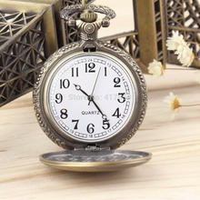 1PCS Hot Selling Antique Vintage Retro Bronze Quartz Pendant Chain Necklace Pocket Watch