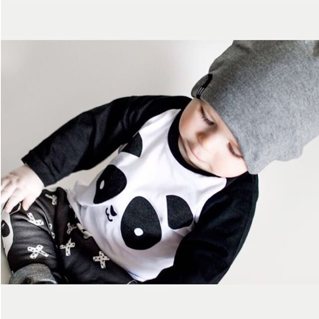 Autumn newborn baby boy/girl clothes cotton panda pattern long sleeve t-shirt + pants 2pcs