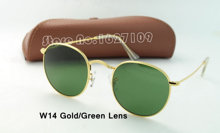 High Quality Round Metal 3447 Sunglasses Eyewear Gold Green Glass Lens Flash 50mm Glass Lenses For Mens Womens(China (Mainland))