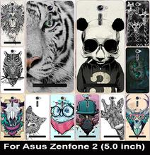 Мультфильм животных кошка сова жираф картина сотовый телефон чехол крышка корпуса аккумулятор назад внешний для Asus Zenfone 2 5 дюймов ZE500CL