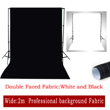 2016 New Double Faced Fabric White,Black Width 2M Photo Lighting Studio Cotton Chromakey Screen Muslin Background Cloth Backdrop(China (Mainland))