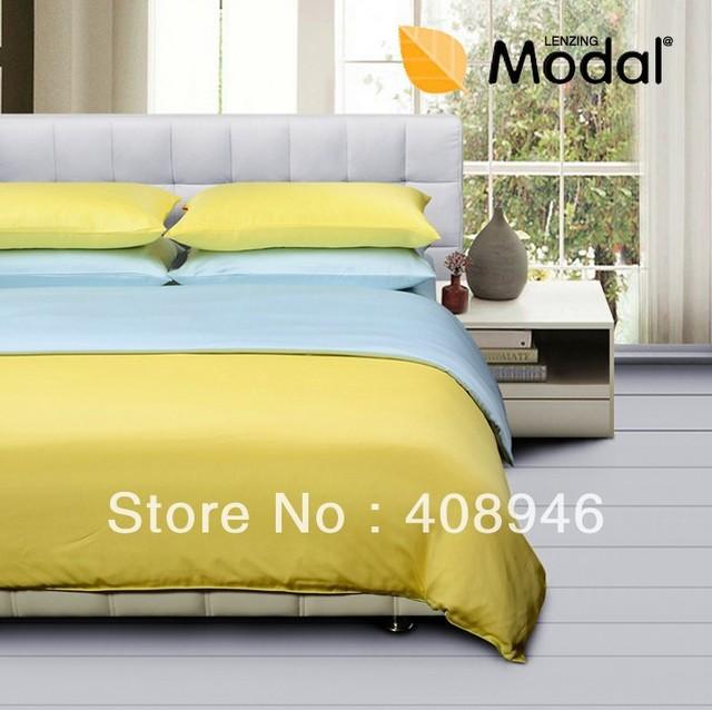 120455 Fedex free shipping! 100% model 4pc comforter set yellow +blue color bedding set /Green fabrics/Virgin pulp fiber