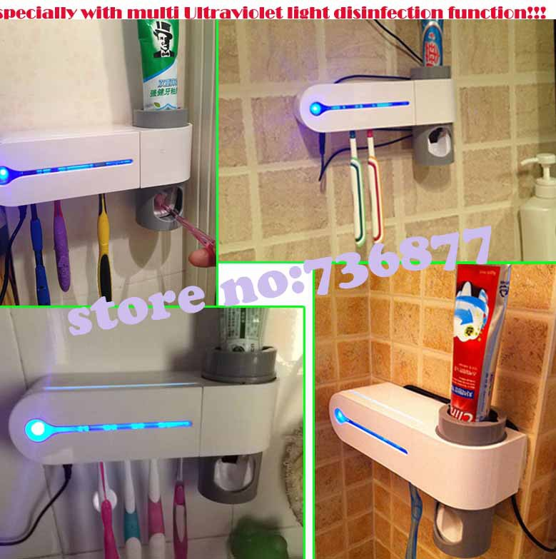 220V toothbrush Cleaner Sanitizer sterilizer holder+Automatic Toothpaste Dispenser with ultraviolet disinfection virus function(China (Mainland))