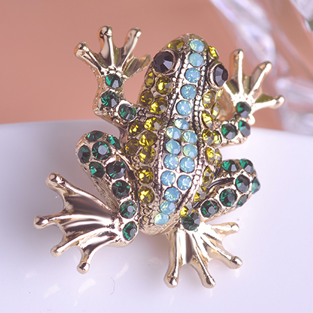 2015 Fashion Jewelry Frog Animal Brooch Corsage 18K Gold Plated Crystal Hijab Pins Joias Brooch For Scarf Girl Broches Clip UK(China (Mainland))