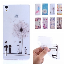 0.3mm Slim Gel Back Skin Huawei Ascend P7 Stylish Painting Soft Silicone Transparent Cover Ultra Thin Clear TPU Case - Only-1 store