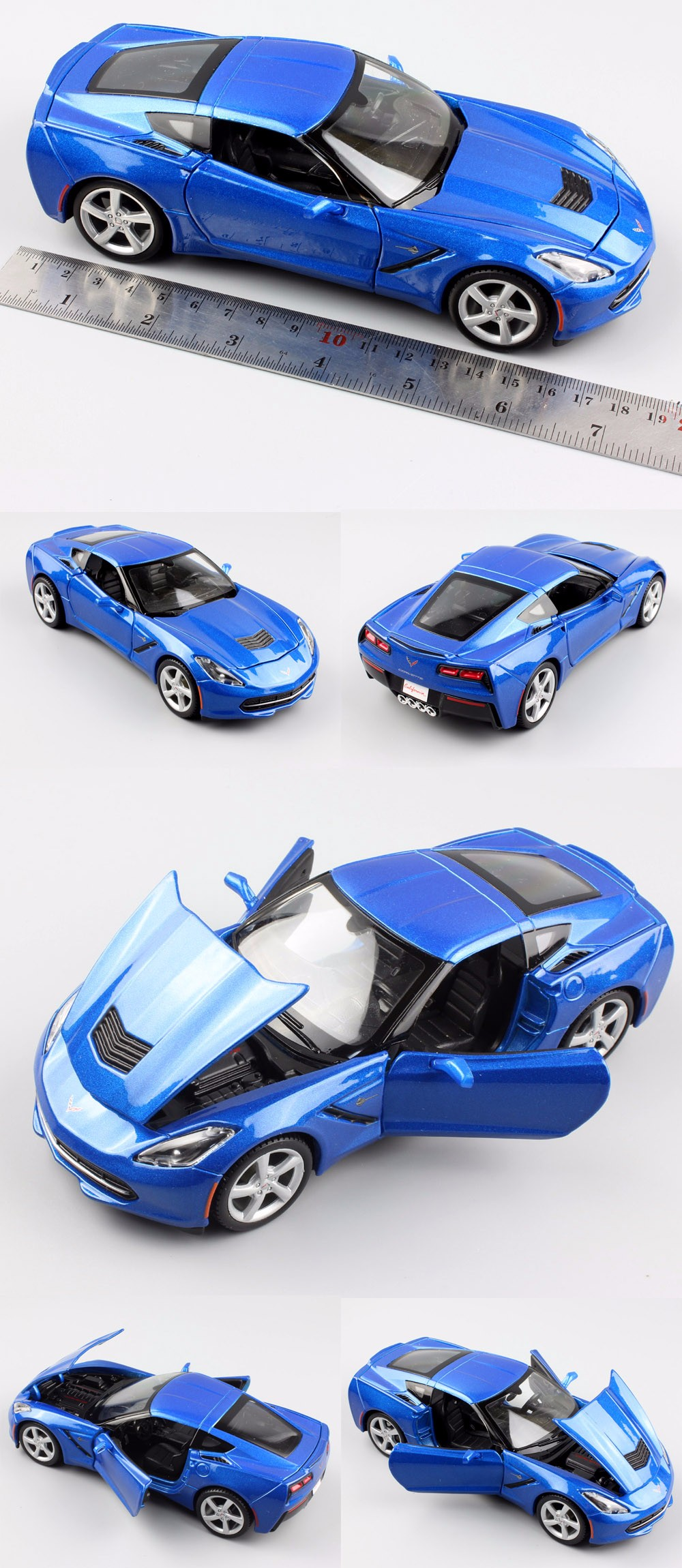 1:24 Scale kids 2014 Stingray Coupe C7 metallic diecast mannequin tank miniature racing auto vehicles styling toys reward for youths boys