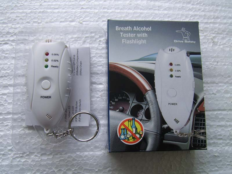 Mini Digital Breathalyzer Keychain Breath Alcohol Tester with Flashlight and Timer(China (Mainland))