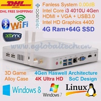 Fanless PC Mini PC Linux HTPC Game Computer 4G DDR3L 64G SSD Haswell Intel Core i3 4010U 4K HD Mini NUC Windows DHL FreeShipping