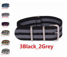 Alta calidad del envío 22 mm otan negro gris correa de reloj ZULU de la otan correa 22 mm