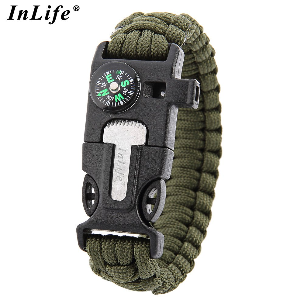 2016 Inlife Multifunctional Whistle Flint Compass Knitted Survival Bracelet Can Used As Scraper Paracord With 6 Color(China (Mainland))