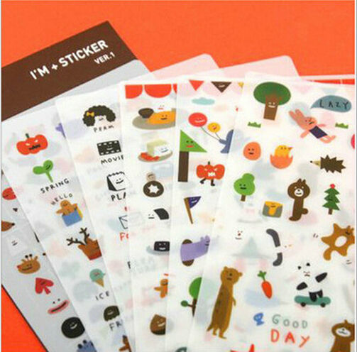 20 Sets / lot Korea Happy Animal Party series PVC sticker Set/Decoration label/Phone sticker/ Wholesale No.0174<br><br>Aliexpress