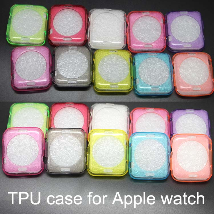 100pcs/lot Soft Watch Case Back Protective 38MM/42MM Ultra Thin Clear TPU Funda Cover Capa For Apple Watch Case 38mm(China (Mainland))