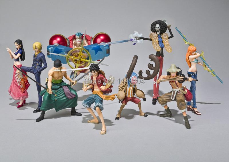 Anime One Piece Action Figures 2 Years Later Luffy Zoro Sanji Usopp Brook Franky Nami Robin Chopper 9pcs/set<br><br>Aliexpress