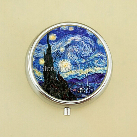 Free Shipping Starry Night Pill Box Vincent Van Gogh Fine Art Medicine Pill Box Small Pill Cases(China (Mainland))