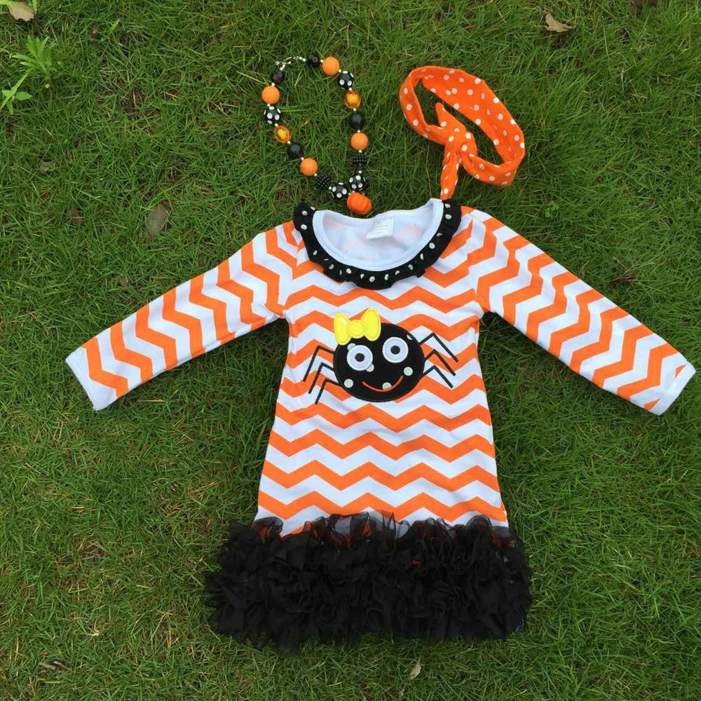 2015 kids halloween dress kids boutique ruffle dress girls spider dress orange chervon dress with necklace and headband(China (Mainland))