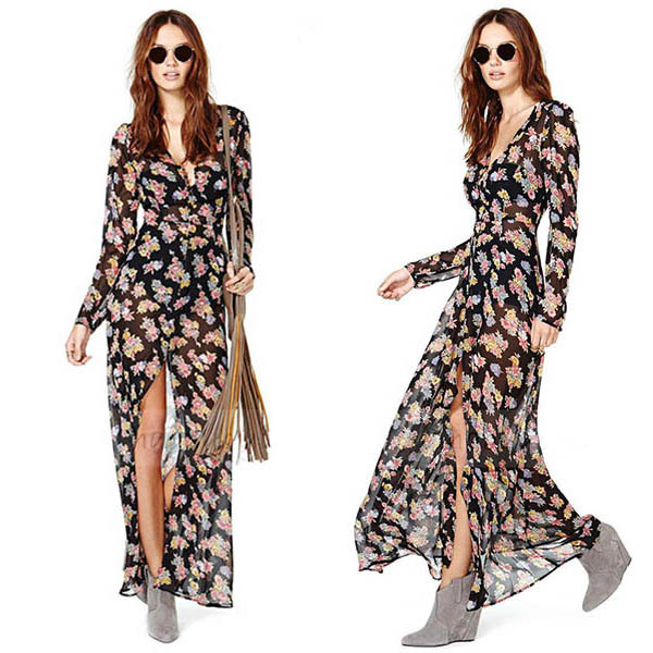 Ladies Deep V Neck Front High Split Floral Boho Long Sleeve Maxi Dress Chiffion(China (Mainland))