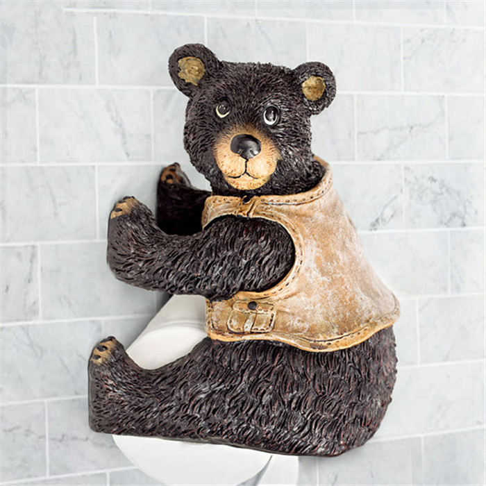 New resin cute bear toilet paper holder creative towel Creative toilet paper holder