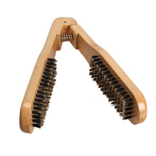 DIY Salon Hairdressing Comb Hair Straightener Double BrushWooden Anti-static Dual-Brush Styling tool Best Price(China (Mainland))